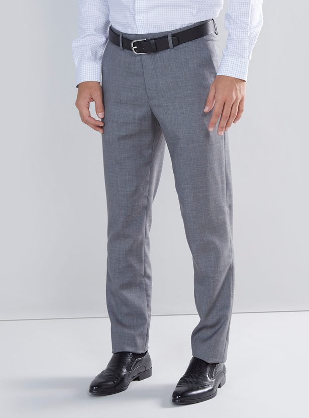 Slim Fit Solid Trousers with Pocket Detail and Belt Loops