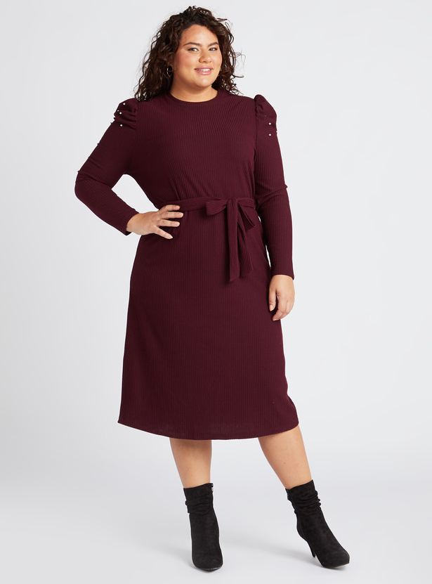 Embellished Detail Midi A-line Dress with Puff Sleeves and Tie Ups