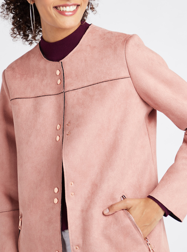 Solid Round Neck Jacket with Long Sleeves and Button Closure
