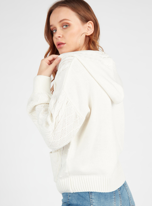 Textured Sweater with Long Sleeves and Drawstring Hood
