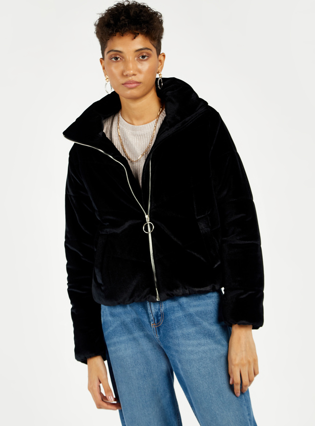 Solid High Neck Bomber Jacket with Long Sleeves