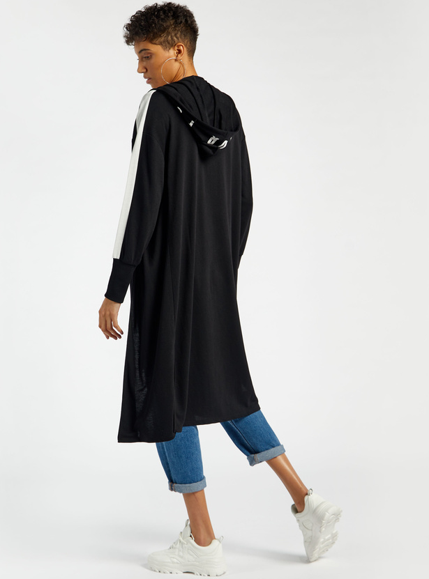 Typographic Print Longline Shrug with Long Sleeves and Hood