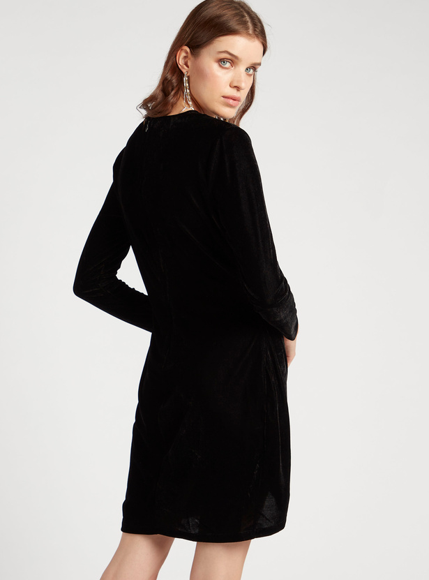 Ruched V-Neck Velvet Bodycon Dress with Long Sleeves