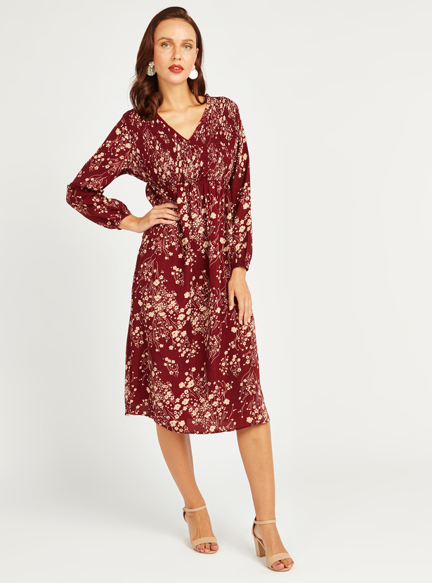Printed A-Line Midi Dress with Long Sleeves