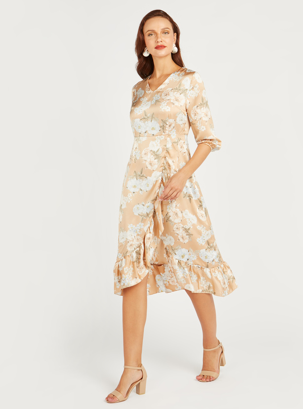 Floral Print Midi Dress with 3/4 Sleeves and Asymmetric Hem