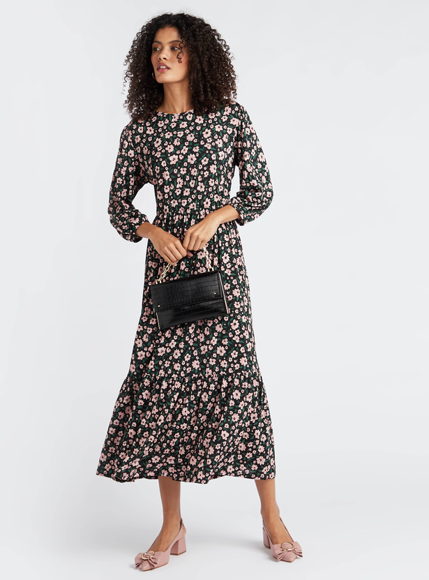 Floral Print Midi Dress with Round Neck and 3/4 Sleeves