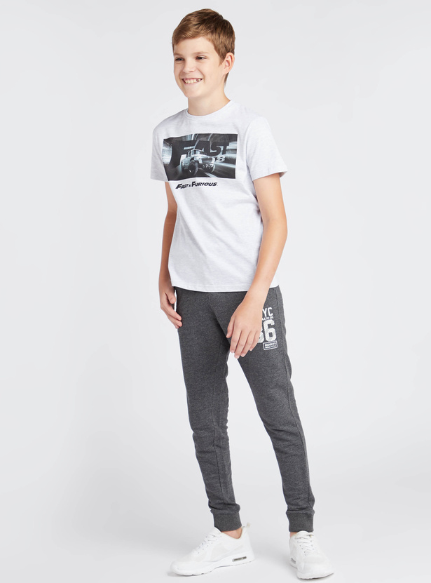 Fast and Furious Print T-shirt with Round Neck and Short Sleeves