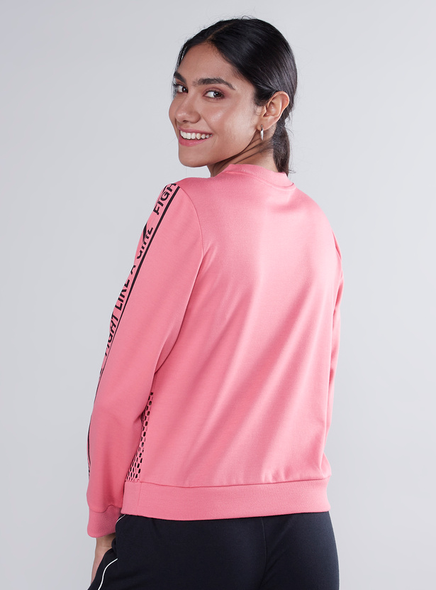 Printed Sweat Top with Long Sleeves and Mesh Detail