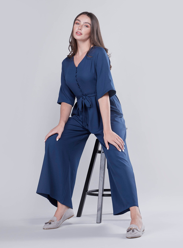 Plain Jumpsuit with Short Sleeves and Tie Ups