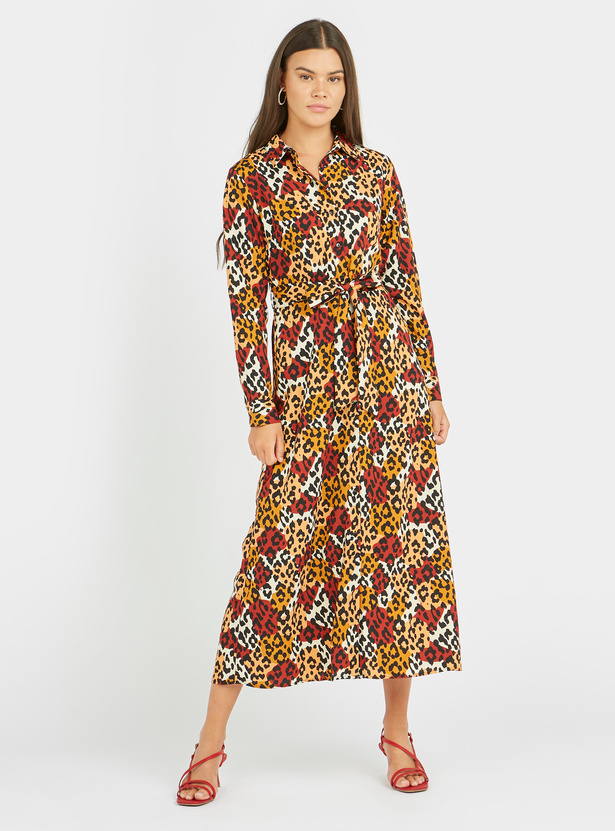 Printed Midi A-line Dress with Long Sleeves and Tie Ups
