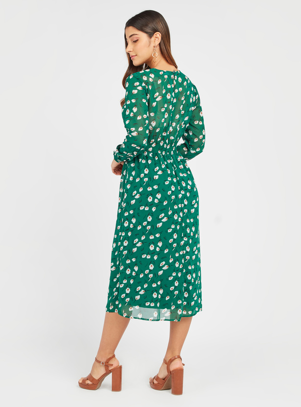 Printed Midi A-line Dress with Long Sleeves and Smocking Detail