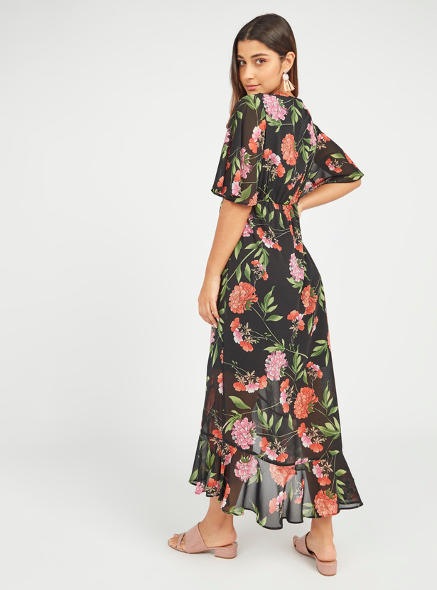 Printed Maxi A-line Wrap Dress with Flared Sleeves and Ruffle Detail