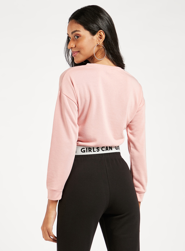 Plain Sweat Top with Long Sleeves and Printed Hem