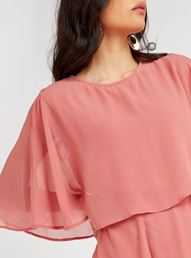 Solid A-line Maxi Cape Dress with Short Sleeves and Zip Closure