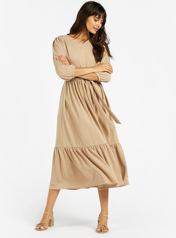 Solid Midi A-line Tiered Dress with 3/4 Sleeves and Belt