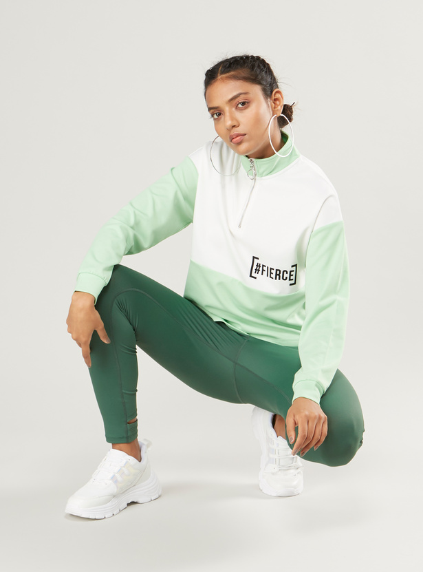 Printed High Neck Sweat Top with Long Sleeves and Half Zip Closure