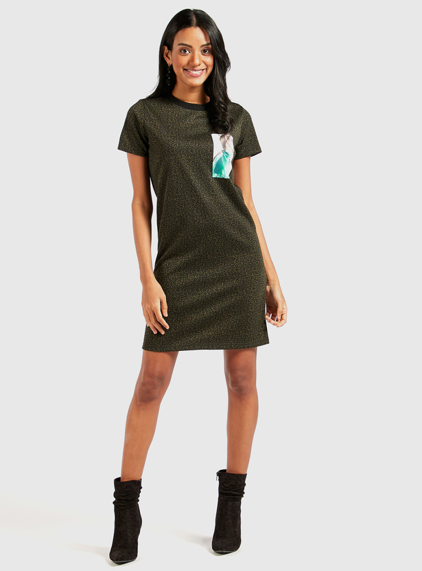 Animal Print Mini Dress with Round Neck and Short Sleeves
