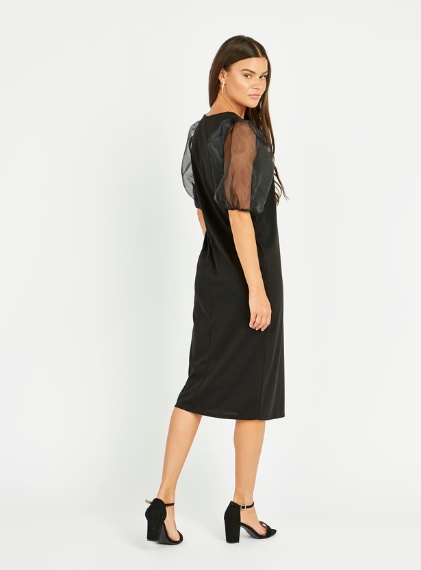 Solid Midi Shift Dress with Round Neck and Puffed Sleeves