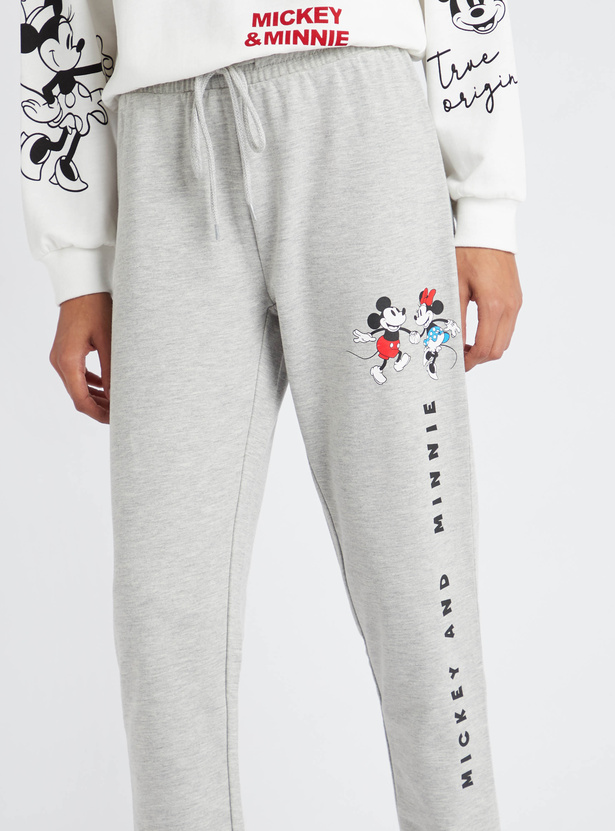 Mickey and Minnie Mouse Graphic Print Jog Pants with Drawstring