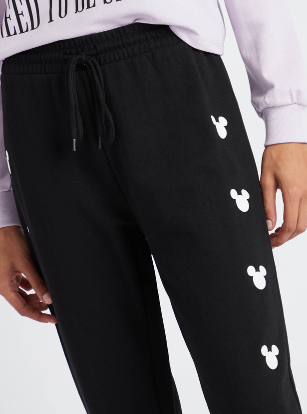 Mickey Mouse Graphic Print Jog Pants with Drawstring