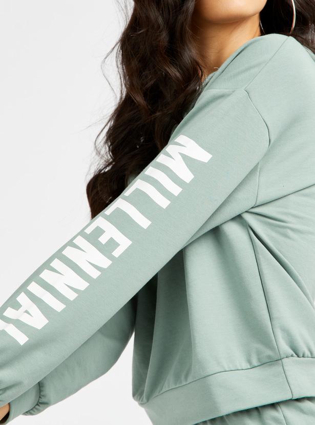 Slogan Print Sweatshirt with Long Sleeves and Drawstring Hood