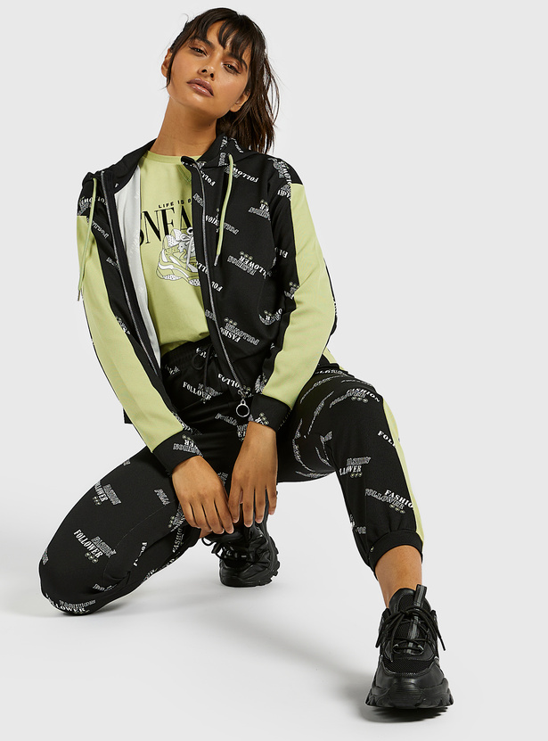 All-Over Print Hoodie Jacket with Long Sleeves and Zip Closure