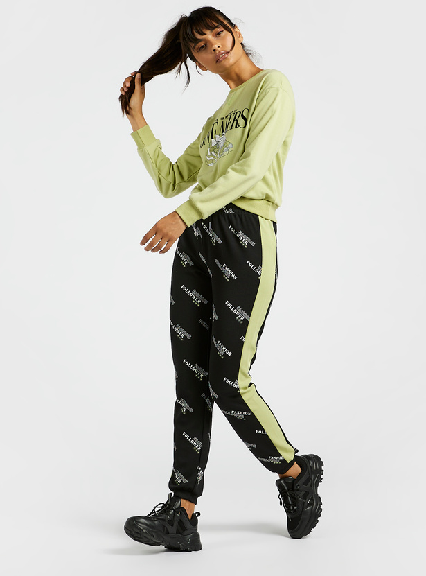 All-Over Print Mid-Rise Jog Pants with Tape Detail