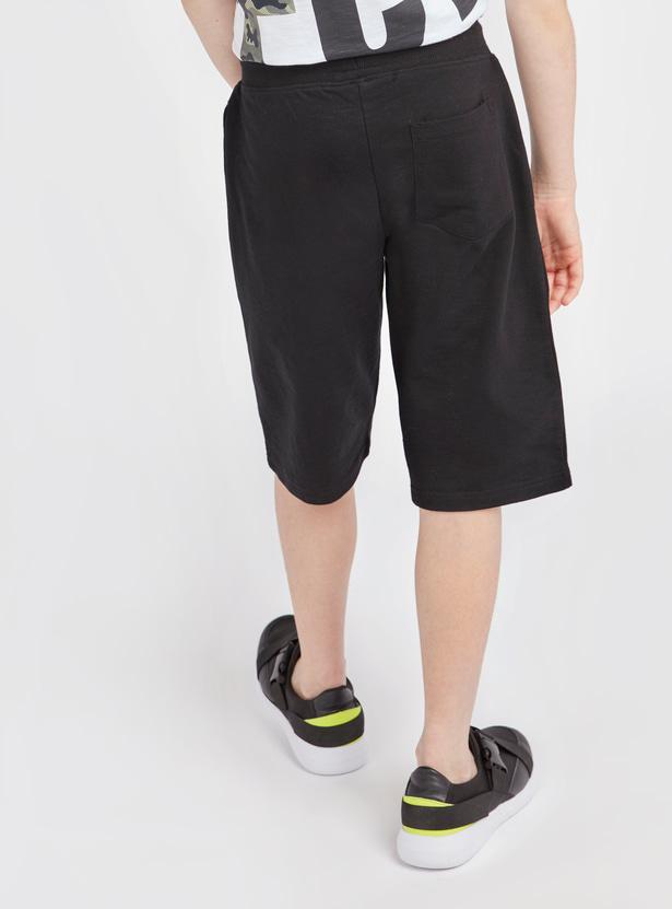 Slogan Print Shorts with Pockets and Drawstring Closure
