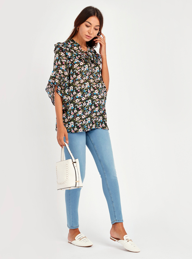 Floral Print Mandarin Collared Top with 3/4 Sleeves