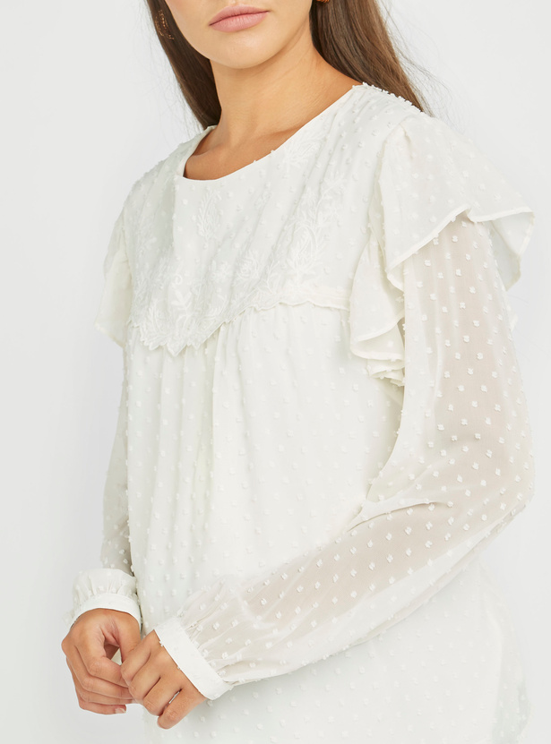 Maternity Textured Top with Round Neck and Long Sleeves