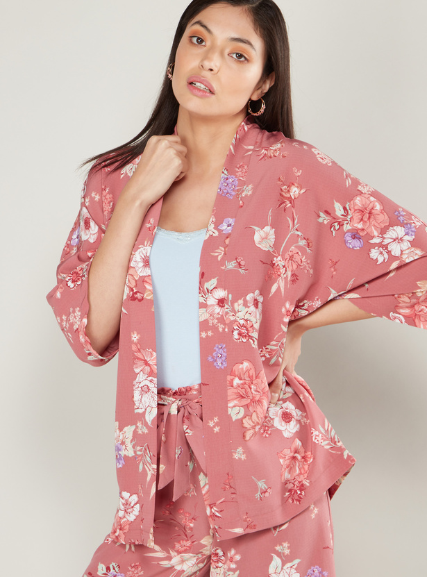 Floral Print Kimono Jacket with 3/4 Sleeves