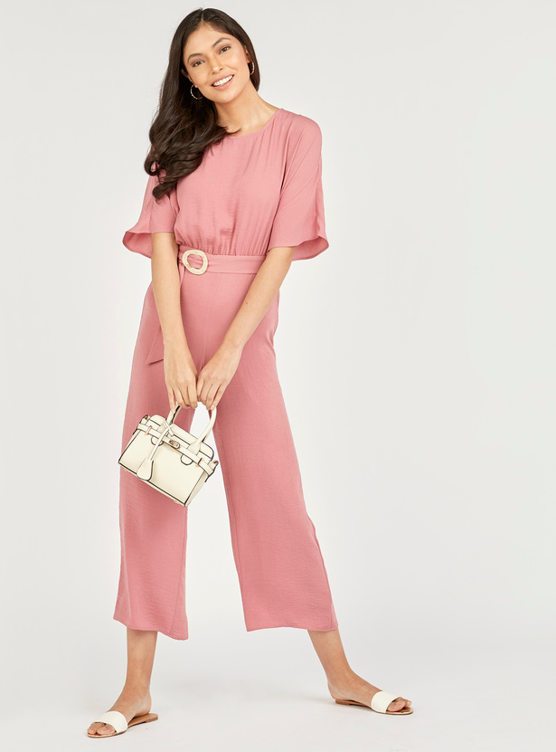Textured Jumpsuit with Round Neck and Extended Sleeves