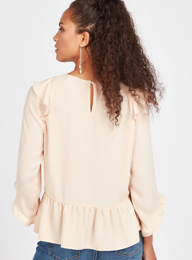 Ruffle Detail Peplum Top with Round Neck and 3/4 Sleeves