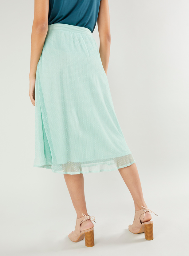 Textured Midi A-line Skirt with Elasticised Waistband and Tie Ups