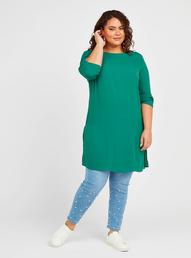 Solid Tunic with 3/4 Sleeves and Side Slit