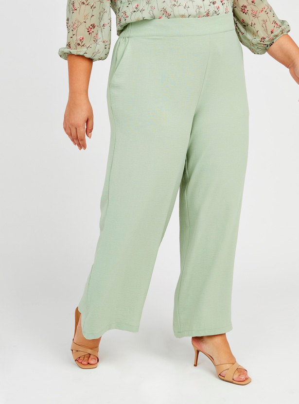 Solid Mid-Rise Palazzo Pants with Elasticised Waistband