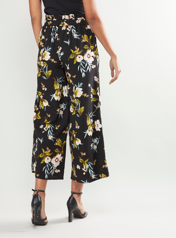 Floral Printed Culottes with Pocket Detail and Belt