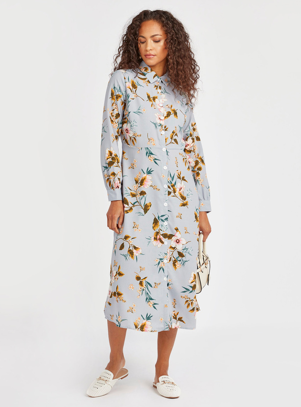 Floral Print Midi Shirt Dress with Long Sleeves