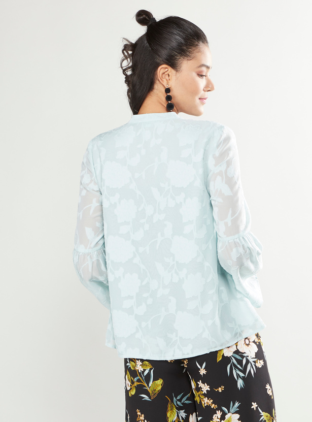 Printed Top with V-neck and Flutter Sleeves