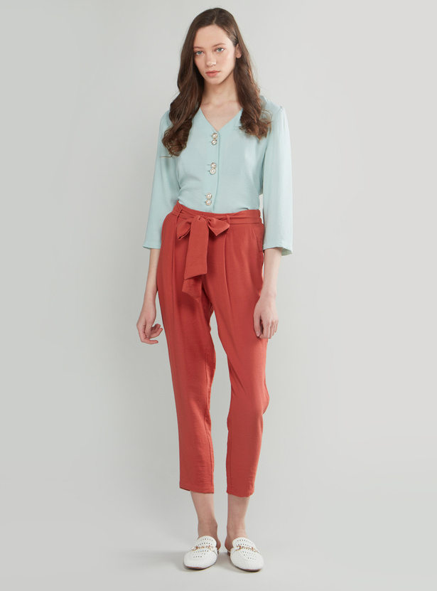 Sheer V-neck Button-Down Top with 3/4 Sleeves and Belt Detail