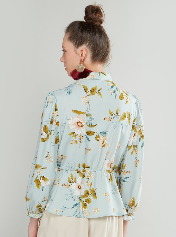 Floral Print Ruffled Top with Lantern Sleeves and Kitty Bow