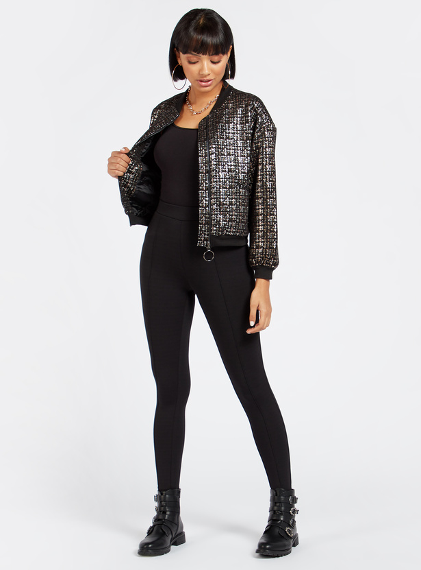 Textured Bomber Jacket with Long Sleeves and Zip Closure