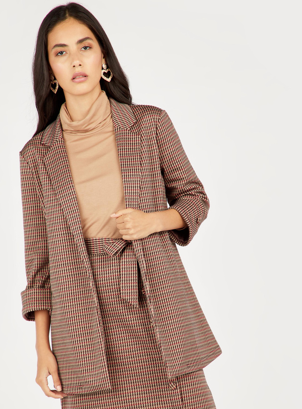 Houndstooth Jacquard Jacket with Long Sleeves and Notched Lapels