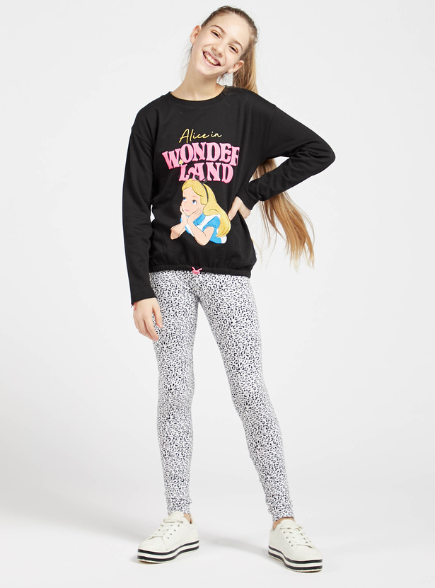Alice in Wonderland Graphic Print T-shirt with Long Sleeves