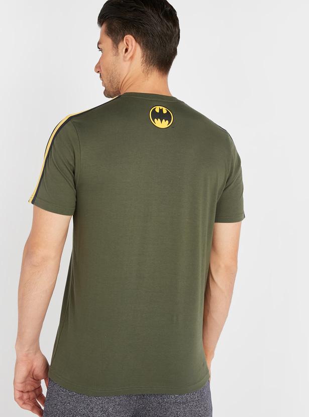 Batman Logo Print T-shirt with Short Sleeves