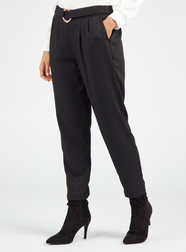 Solid High Rise Cropped Pants with Belted Waist