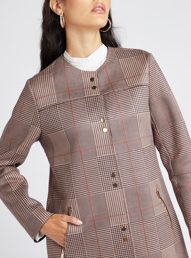 Checked Overcoat with Long Sleeves and Pocket Detail