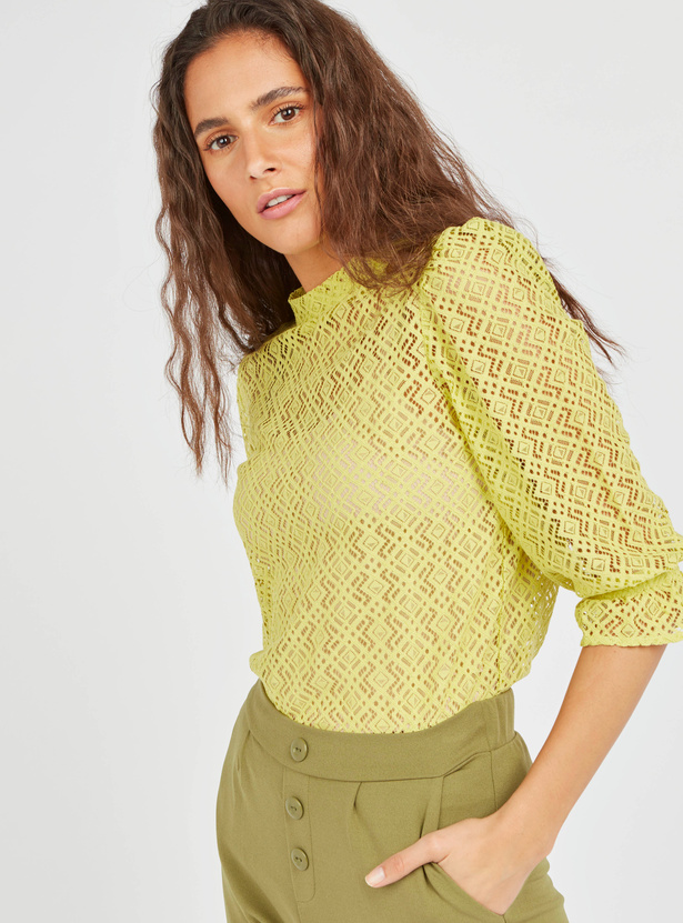 Textured High Neck Lace Top with 3/4 Sleeves and Button Detail