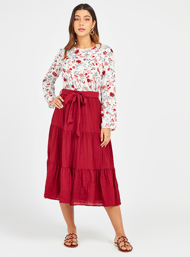Textured A-line Midi Tiered Skirt with Tie Ups