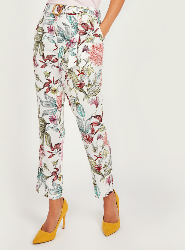 Floral Print Pants with Pockets and Belt